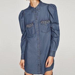 Zara DENIM DRESS WITH GEM EMBROIDERY-ref 7200/223